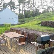giardino con barbecue.