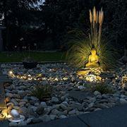 Faretti in giardino di pietre