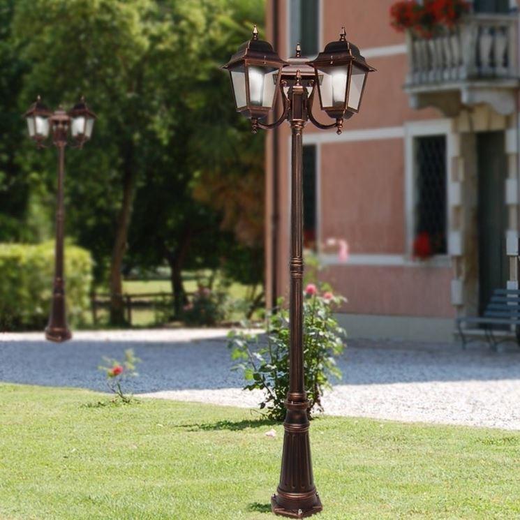 Lampione interrato per giardino