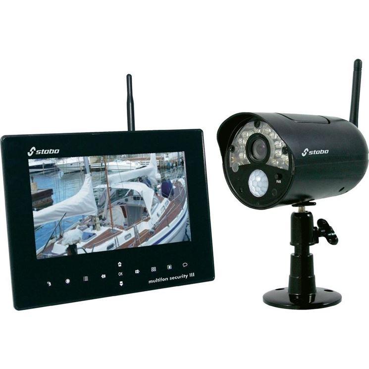 Kit per la videosorveglianza senza fili con monitor integrato nel DVR