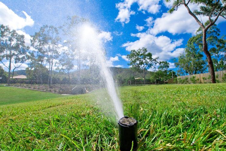 Un impianto di irrigazione in funzione