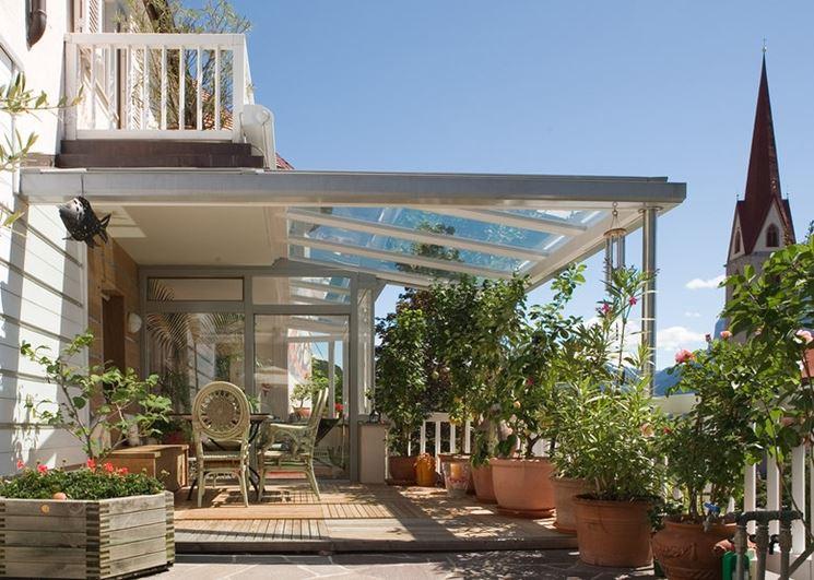 Copertura in vetro pergole e tettoie da giardino - Strutture mobili per terrazzi ...
