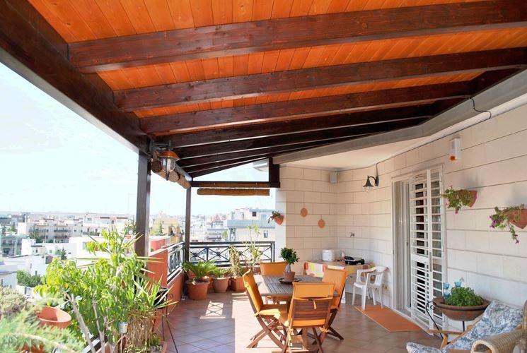 Copertura terrazzo in legno