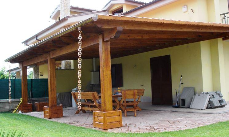 Costruire tettoia in legno pergole e tettoie da giardino for Sezione tetto giardino