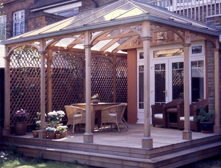 Verande esterne pergole e tettoie da giardino veranda esterna arredi - Verande da giardino in legno ...