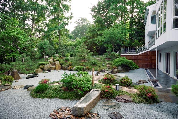 Giardino in stile giapponese con ghiaia
