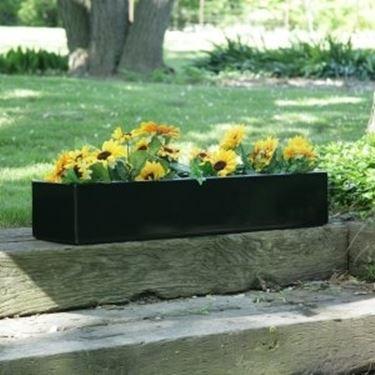 Una fioriera in plastica nera