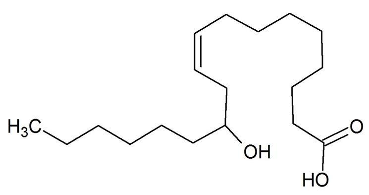 Struttura molecolare dell'acido ricinoleico