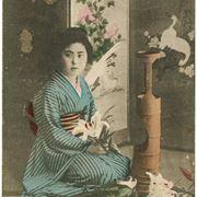 Donna giapponese che realizza un ikebana