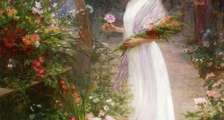 donna con fiori sulle braccia