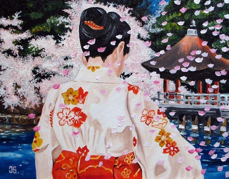 donna giapponese nei fiori