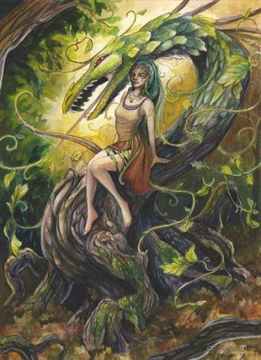 rappresentazione celtica dell'edera con il drago