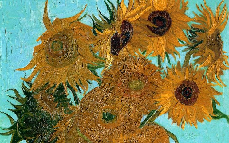 Particolare di uno dei quadri di Van Gogh raffiguranti i girasoli
