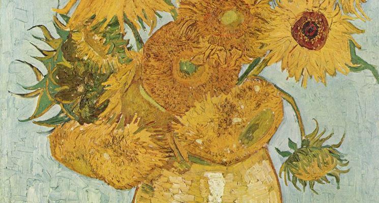 una delle tele di Vincent Van Gogh raffiguranti i girasoli