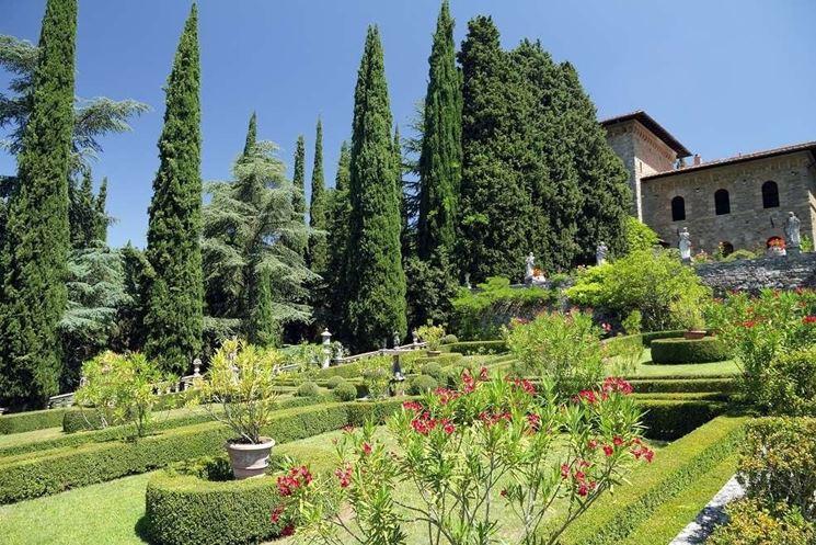 Terrazzamenti in un giardino all'italiana