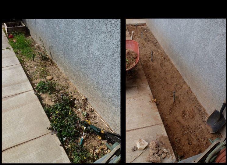 Prima e dopo la preparazione del terreno.