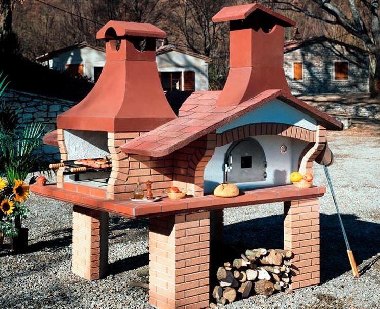 Caminetto da giardino in muratura