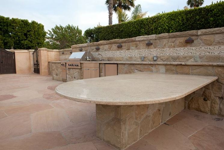 Salotto Esterno Con Camino External Design: Cucine in finta muratura ad angolo cucina componibile.