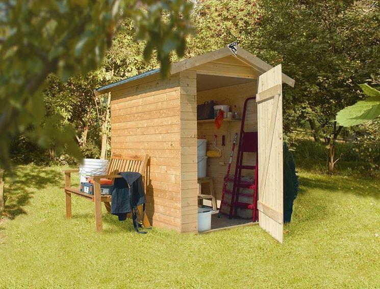 Casa in legno per attrezzi
