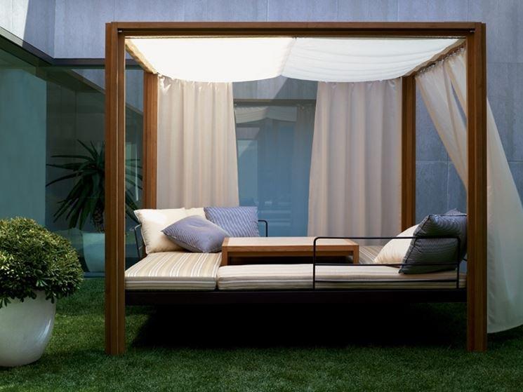 Un gazebo può trasformarsi in un comodo letto, nel più puro stile dell'arredamento moderno