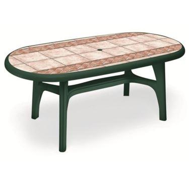 Tavolo da giardino con piano decorato