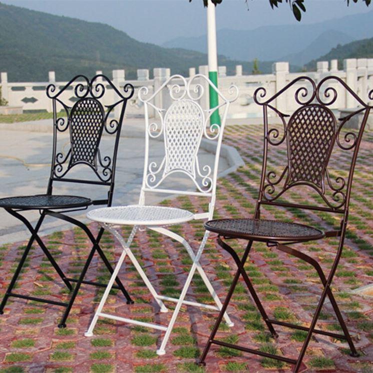 Sedie da giardino in ferro battuto pieghevoli