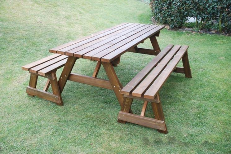 Panca Con Tavolo Da Giardino : Tavoli e panche in legno. cheap tavolo da esterno in legno di cedro