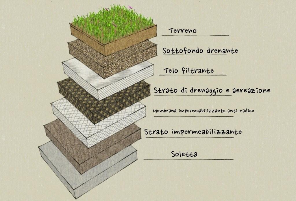 Giardino pensile piante da terrazzo come realizzare un for Sezione tetto giardino